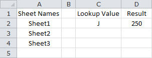 Lookup a Value Based on a Single Criteria Across Multiple Sheets